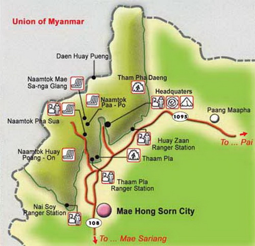 tham pla – namtok pha suea national park map, tham pla – namtok pha suea map, national parks in northern thailand, national parks in mae hong son, national parks in maehongson