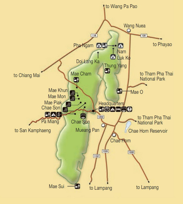 chae son national park map, jae sawn national park map
