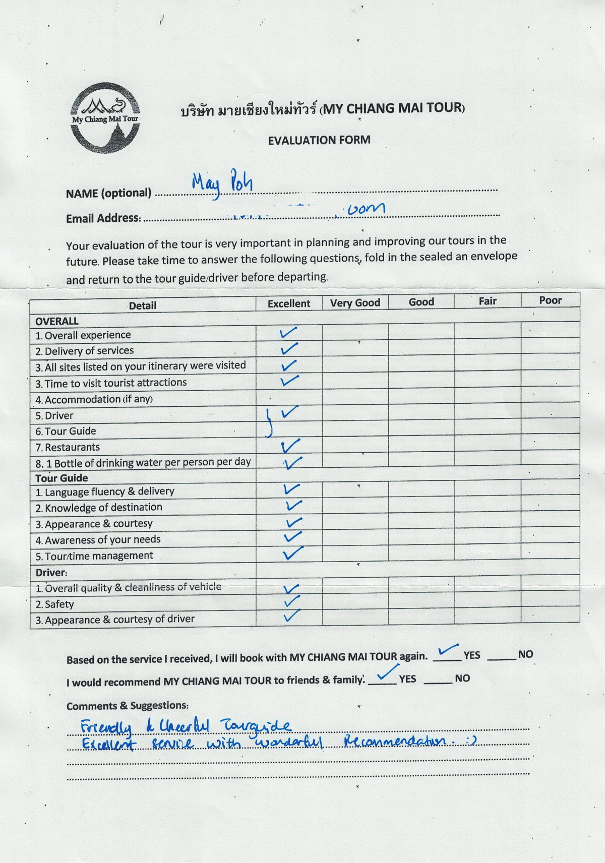 reviews, my chiang mai tour reviews, evaluation form