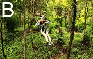 zipline at huat tung tao lake, canopy at huay tung tao lake